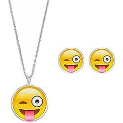 Emoji Gracioso Emoticons Hora Collar Pendientes Conjunto Joyería