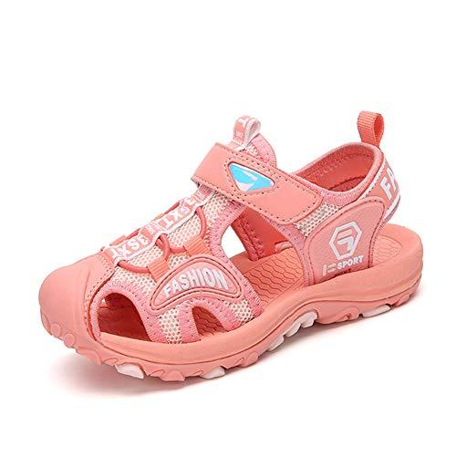Sandalen Jungen Geschlossen Klettverschluss Sommer Kinder Schuhe Mädchen Atmungsaktiv Wasserdicht Strand Trekking Wandern Unisex Pink 27 EU