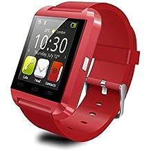 Koiiko® - Reloj-teléfono inteligente U8 con bluetooth - Pantalla táctil de 1,5 pulgadas - Reloj-teléfono de pulsera multifunción: llamadas manos libres, recordatorio de llamada, reloj, disparador remoto, podómetro, etc - Apto para iOS, Android y otros dispositivos bluetooth, 0.22 pounds, color rosso