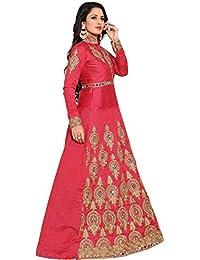 Kings Fashion Bazaar Women Poly Silk Anarkali Semi-Stitched Salwar Suit (GATMPU10459_Pink_Free Size)