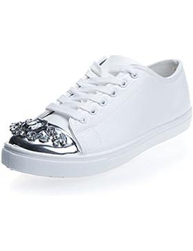 newest 2b719 e550c MFORSHOP scarpe donna ginnastica sneakers eco pelle elegante strass punta  RW742