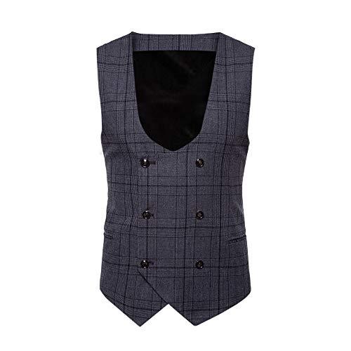 KPILP Men Fashion Herbst Winter Plaid Übergröße Baumwolle Knopf beiläufiger Druck ärmellose Jacke Mantel britischen Anzug Weste Bluse(W-dunkelgrau, 4XL) -