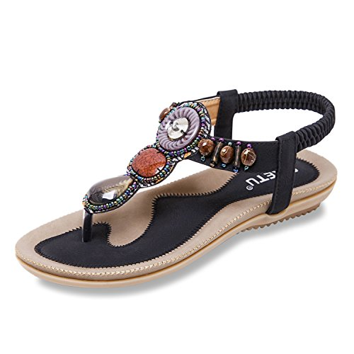 ZOEREA femme sandales été Chaussures Confortable et respirant sandales en cuir flat flip flops Noir