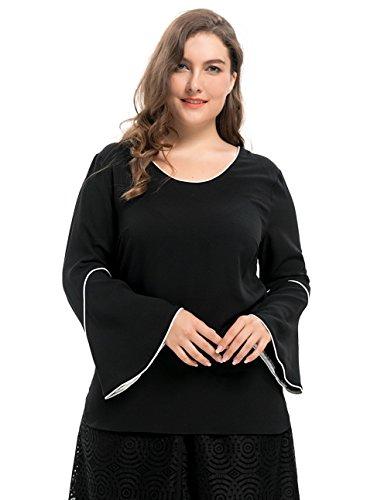 Petite V-ausschnitt Bluse (Chicwe Damen Große Größen V-Ausschnitt Bluse mit Piping Glockenhülsen Schwarz 3X)