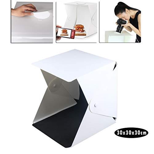 VNEIRW Foto Zelte Leuchtkasten Fotostudio Tragbare Faltbare Studiobox LED Beleuchtung Lightroom mit LED Fotografie Softbox Kit und 2 Verschiedenen farbigen Hintergründen (30 x 30 x 30cm)