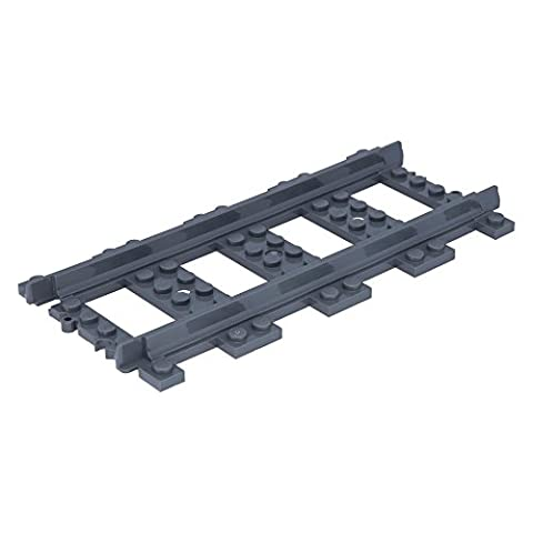 10 x LEGO® Train, Track Plastic (RC Trains) Straight Dark Bluish Gray