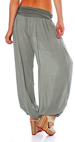 malito Pantaloni alla zuava Aladin Harem Pantaloni Boyfriend Sbuffo Pump Baggy Yoga 1482 Donna Taglia Unica oliva