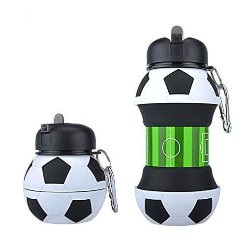 Borraccia calcio-scuola-divertente e indistruttibile, in silicone apribile e richiudibile antigoccia e riutilizzabile- da 550 millilitri, per ragazzo e ragazza-idea regalo