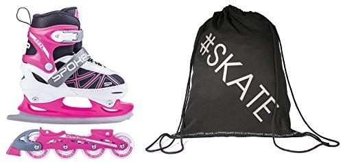 Spokey ZOOL 2in1 Verstellbare Inline Skates/Schlittschuhe + Ultrapower Rucksack 30-33 Weiß - Grau - Rosa