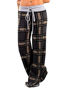 Juqilu Mujer Ancho Pierna Pantalones - Cintura Elástico Pantalón Moda Casual Slim Pantalones para Deportes Yoga...