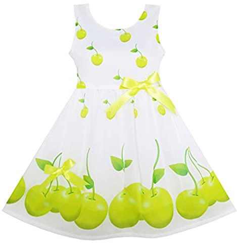 HY95 Girls Dress Green Apple Leaves Print Satin Bow Tie