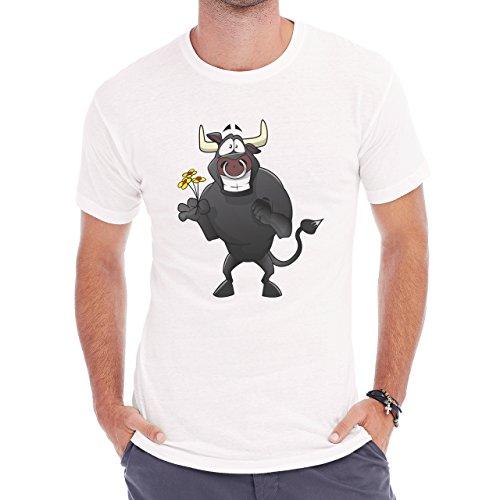 Bull Cow Animals Farm Flower Herren T-Shirt Weiß