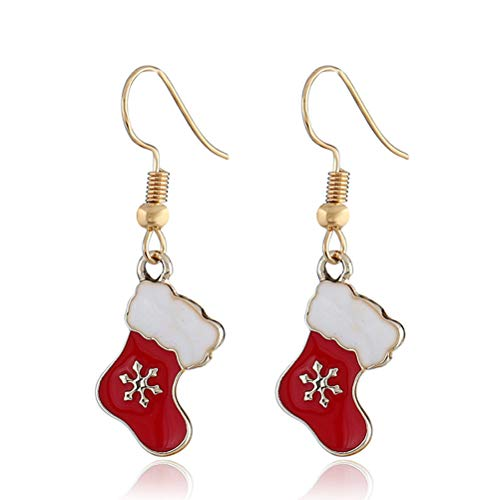 TONVER Christmas Earrings, Gold Plated Festival Theme Hook Earring Fashion Jewellery Xmas Gifts for Women Girls (Christmas Stocking)