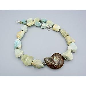 Amazonit Kette - Amazonit Rohstein Kette - Ammoniten Anhänger - Beads-in-Fashion