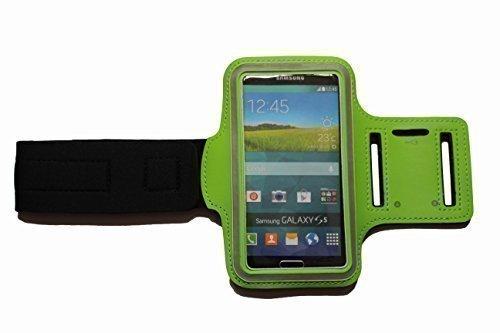 Dealbude24 Grün S Sport Armband Schutz Hülle für Samsung Galaxy S3 Mini und S4 Mini, Case veränderbarer Länge, für Rennen, Workout, Wandern, Fitness und Laufen mit Kopfhöreranschluss aus Neopren - Case Armee-samsung S3 Galaxy