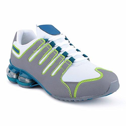 Fusskleidung Herren Damen Sportschuhe Dämpfung Neon Laufschuhe Gym Sneaker Unisex Weiss Grau Grün EU 43