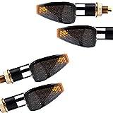 Motorrad LED Mini Blinker Peak chrom kurz smoke 4er Set 2 Paar 12V e-geprüft
