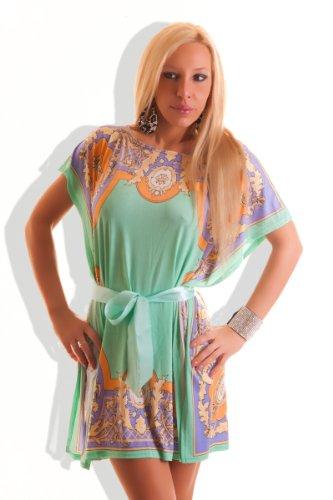 Motif fleurs d'été pour femme Motif chauve-souris pour femme mini robe ou haut Papillon ceinture pour femme style bandage fin-cocktail Party Kit pour les vacances Vert - Vert
