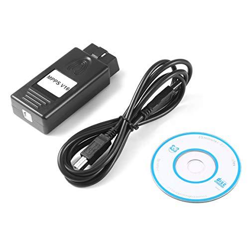 MPPS V16 ECU Chip Tuning-Tool für EDC15 EDC16 EDC17 Checksum SMPS MPPS 16 CAN Flasher Neuzuordnung Seil Fahrzeug-Diagnosewerkzeug (Farbe: schwarz)