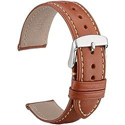 WOCCI 20mm Correa Reloj de Cuero con Hebilla Plata, Compatible con los Relojes Tradicionales e Inteligentes (Marrón)