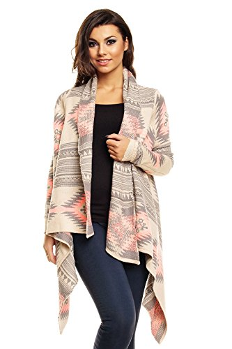 Luzabelle Fly Away Cardigan Strickjacke Strickmantel Ethno Muster Oversized (L/XL, Beige-grau-rosa) (Away Strickjacke Fly)