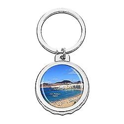 Hqiyaols Keychain Spanien Strand von Las Canteras Las Palmas Cap Flaschenöffner Schlüsselbund Creative Kristall Rostfreier Stahl Schlüsselbund Reisen Andenken