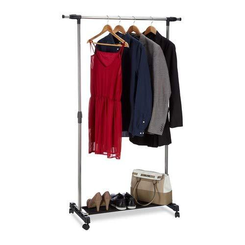 Relaxdays Kleiderständer auf Rollen, Garderobenwagen mit Kleiderstange und Ablage, höhenverstellbar: 96-162 cm, Silber, Standard