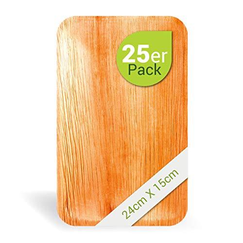 Leef Bio Palmblattgeschirr - 25 Stück Palmblatt Teller rechteckig 24x15 cm - Einweggeschirr hochwertig, unbehandelt, biologisch abbaubar & nachhaltig Wegwerfgeschirr Einwegteller