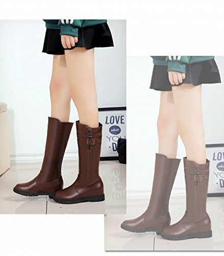 ANI Stivali Autunno e Inverno Donna Western Stivali a Maniche Rialzate Scarpe Basse Stivali Alti Cachi