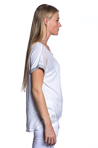 Abbino 1325 Shirt mit Pailletten und Glanzeffekt Damen - Made in Italy - 7 Farben - Übergang Frühling Sommer Herbst Damenshirt Sexy Elegant Beiläufig Süß Flexibel Verkauf Jung Delikat Stilvoll Weiß