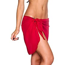 iBaste Moda Mujer Bikini y Pareo a Juego con Color Sólido de Inspiración Marinera