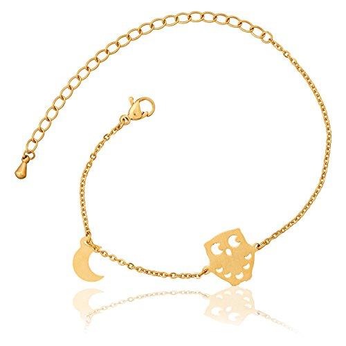 Selia Halbmond Armband Eule Armreif Moon minimalistische Optik Liebe handgemacht Edelstahl (Gold) - Origami Kette Gold Eule