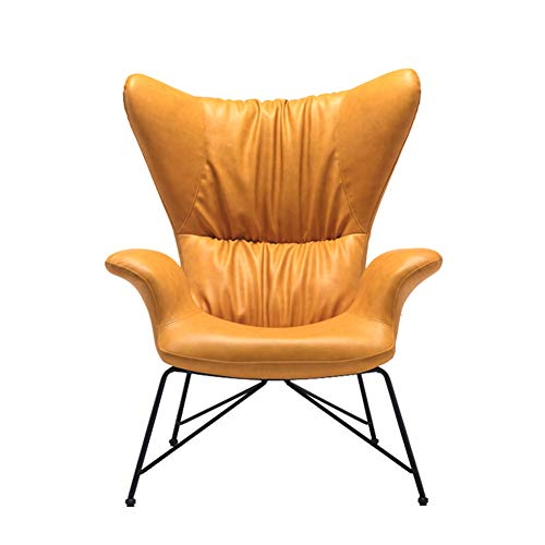 Sofa Chair, Leder Art Bedroom Small Apartment Single Modern Minimalist Lazy High Back Living Room Lounge Chair Water Curve Comfortable Durable and Stable Armrest Chair -