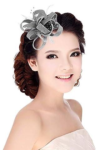 La Vogue Pince à Cheveux Plume Mariage Chapeau Fascinator Bibi Coiffe Broché Fleur Gris