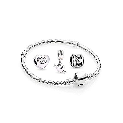 Herz Charms Beads 1 Armband und 3 Anhänger Starter Set Angebot Zirkonia Murano Glas bettel Pandora Style Bead kompatibel 17cm - Magnolia Glas-anhänger