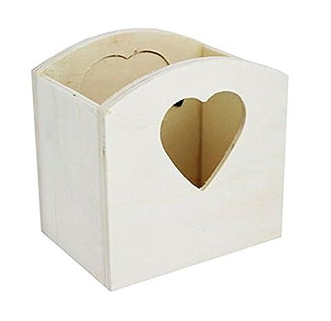 Organiseur de bureau en bois Cœur découpé papeterie Stockage Décorer à bijoux trésor mignon