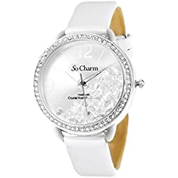 Ladies Leather White So Charm Wrist Watch Made with 86 Crystals from Swarovski Elements