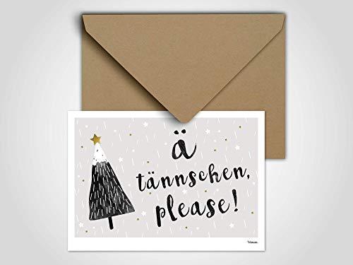 Ä Tännchen please/Weihnachtskarte, Grußkarte, Karte, Weihnachten, Schnee, Tannenbaum, Schneemann, Winter, Familie, Weihnachtskarte Schnee -