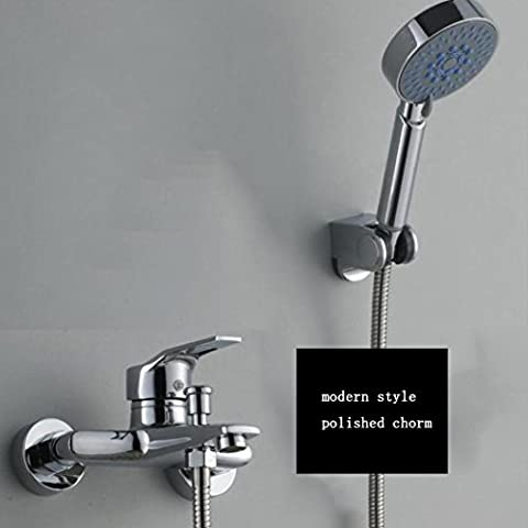 Caribou Massiv Messing Badezimmer Dusche System mit Ultra-flexibler Schlauch aus rostfreiem Stahl, Chrom poliert
