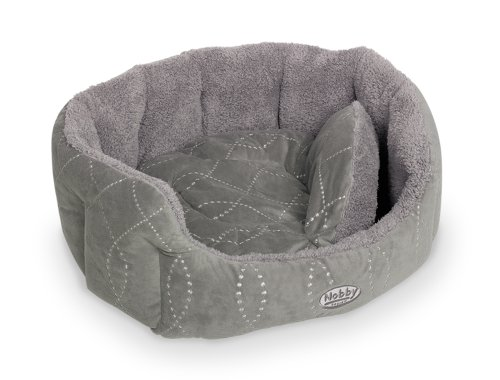 Nobby 71552 Komfort Bett Oval Ceno für Hunde Oder Katzen, L x B x H: 86 x 70 x 24 cm, grau/grau