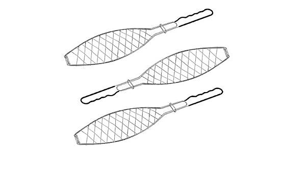 3 x Fischbräter Fischkorb Grillkorb für Fisch Grillrost Fischhalter Grill BBQ