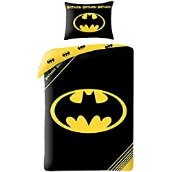 Batman Logo Black UK Single Duvet Cover and Pillowcase Set