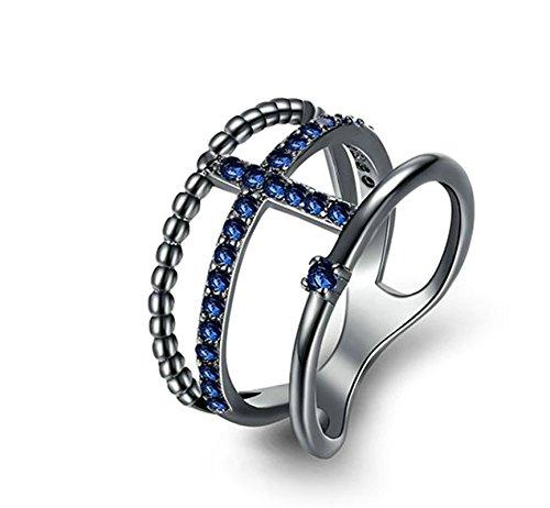 Adisaer Ring Damen Edelstahl Gold Ringe Damen Titanring Edelstahl Damen Ring 14K Vergoldet Schwarz Diamant Kristall Kreuz Blau Größe 54 (17.2) Party Süß Ring Für Tochter