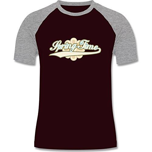 Urlaub - Spring Time - zweifarbiges Baseballshirt für Männer Burgundrot/Grau meliert