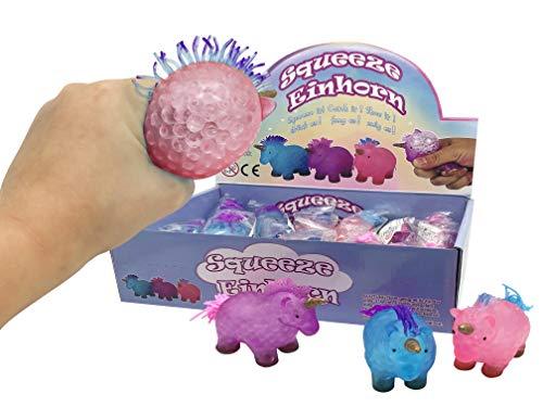 JustRean Toys 1 Einhorn Squeeze Ball  Anti-Stress-Ball gefüllt mit Aquaperlen - Gelperlen - Wasserperlen   Zum quetschen, werfen & Wut ablassen