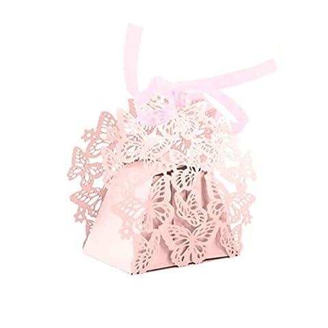 Hrph Lot de 50pcs Boîtes à Bonbons Boîtes à Dragées Bonbonnière Motif Papillon avec Ruban pour Baptême Mariage Anniversaire Laser Cut