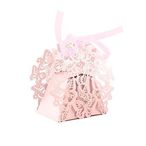 Hrph Lot de 50pcs Boîtes à Bonbons Boîtes à Dragées Bonbonnière Motif Papillon avec Ruban pour Baptême Mariage Anniversaire Cut