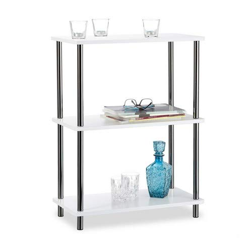 Relaxdays Mesa Auxiliar Moderna con 3 Niveles, Madera y Acero Inoxidable, Blanco, 30.5x60x79 cm