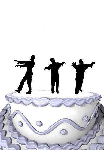Decoración para tarta personalizada para bodas, Halloween, 3 zombies, decoración para tartas, decoración divertida para tarta de Mr y Mrs