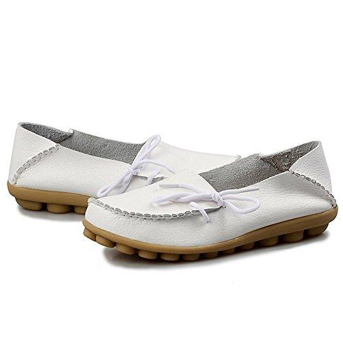 Damen Casual Mokassin Leder Loafers Fahren Schuhe Comfort Freizeit Flache Schuhe Slipper Flats chuhe Low-top Lederschuhe Erbsenschuhe Weiß